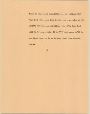 Primary view of object titled '[News Script: Pope Paul]'.
