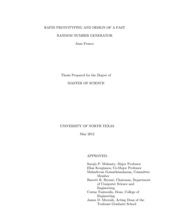 random number generator thesis