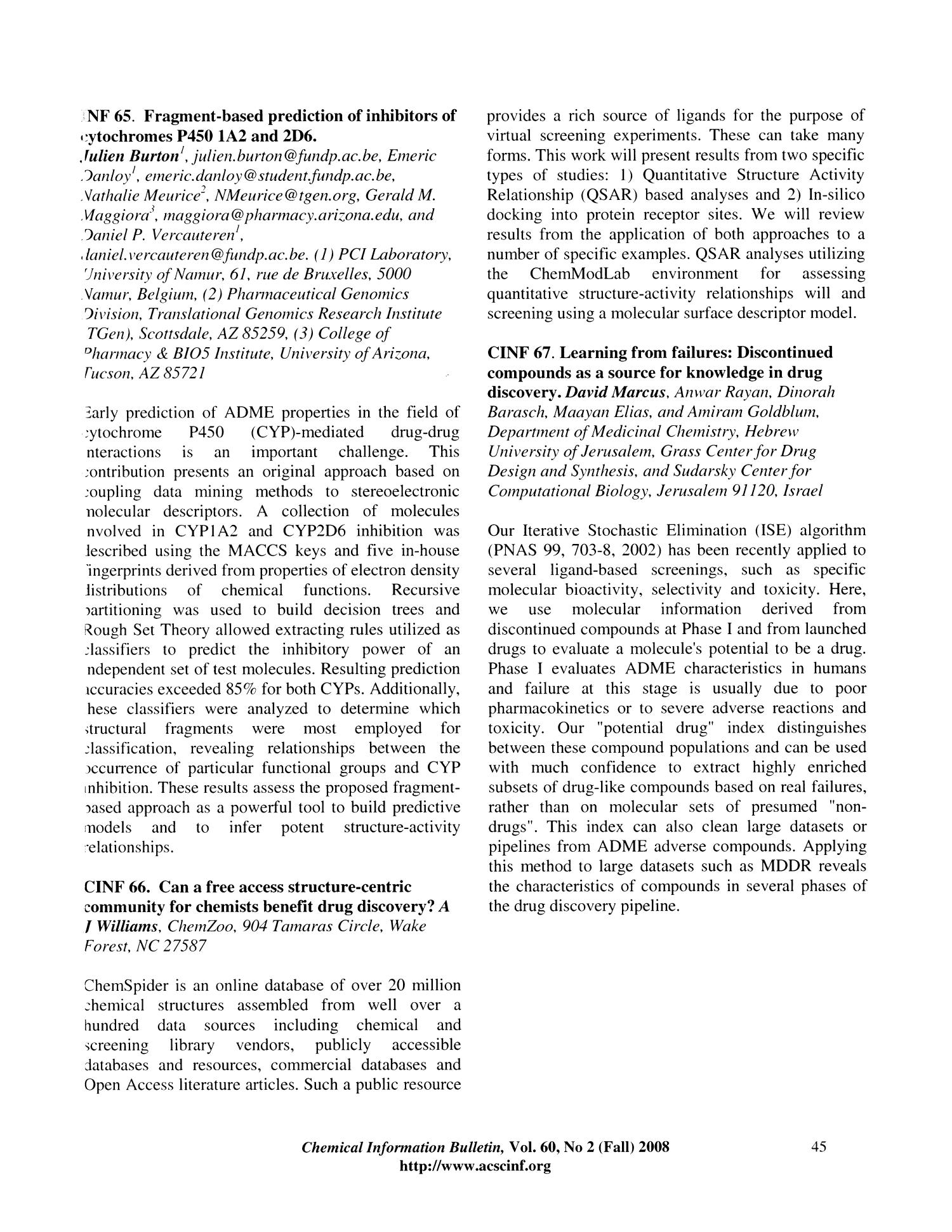 Chemical Information Bulletin, Volume 60, Number 2, Fall 2008 - Page