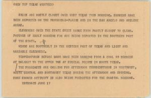 News Script: Texas weather forecast] - Digital Library