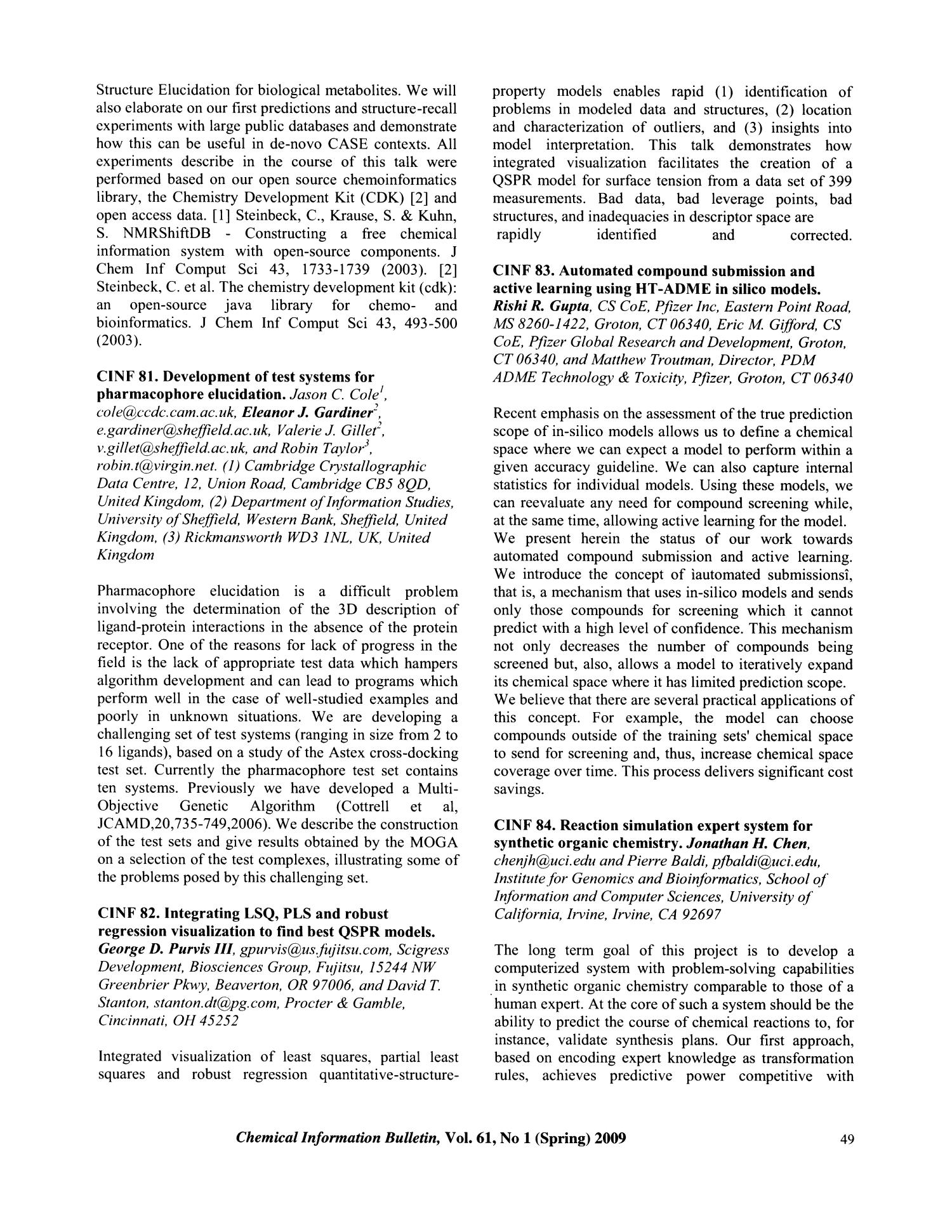 Chemical Information Bulletin, Volume 61, Number 1, Spring