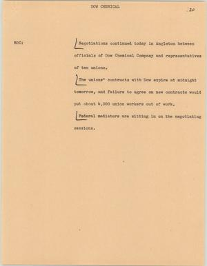 Primary view of object titled '[News Script: Dow chemical]'.