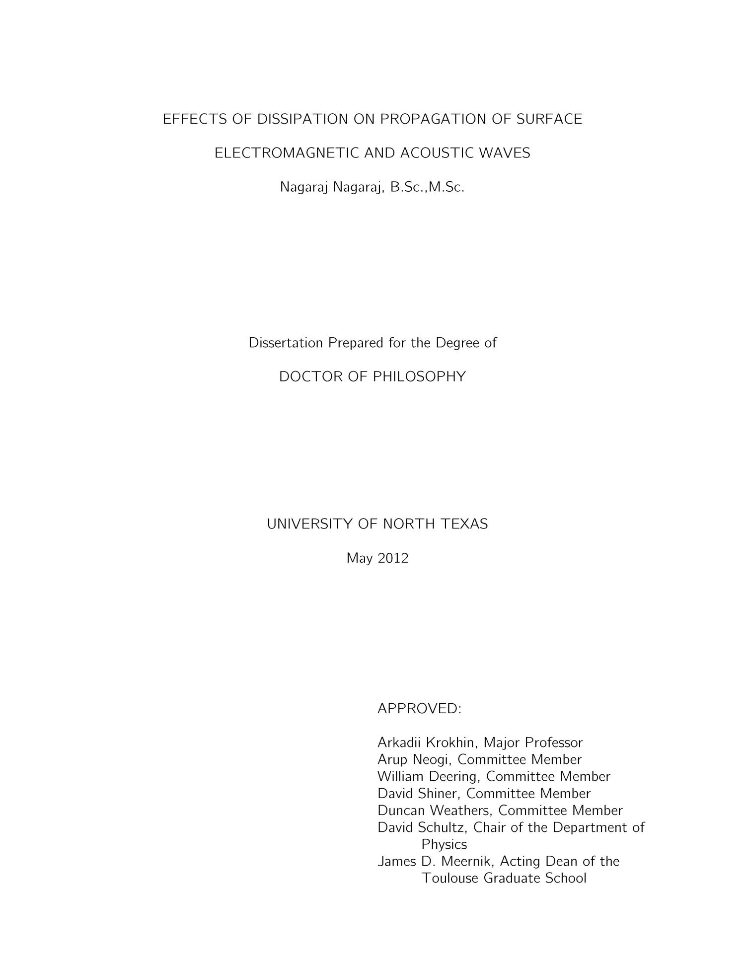 Effects of Dissipation on Propagation of Surface Electromagnetic and Acoustic Waves                                                                                                      Title Page