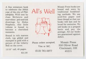 Primary view of object titled '[Flyer for the Mosaic Press]'.
