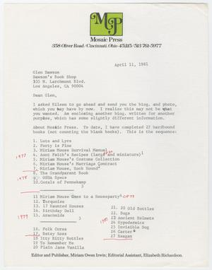 Primary view of object titled '[Letter from Miriam Irwin to Glen Dawson, April 11, 1981]'.