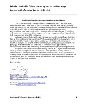 Primary view of object titled 'Leadership, Training, Mentoring, and Instructional Design'.