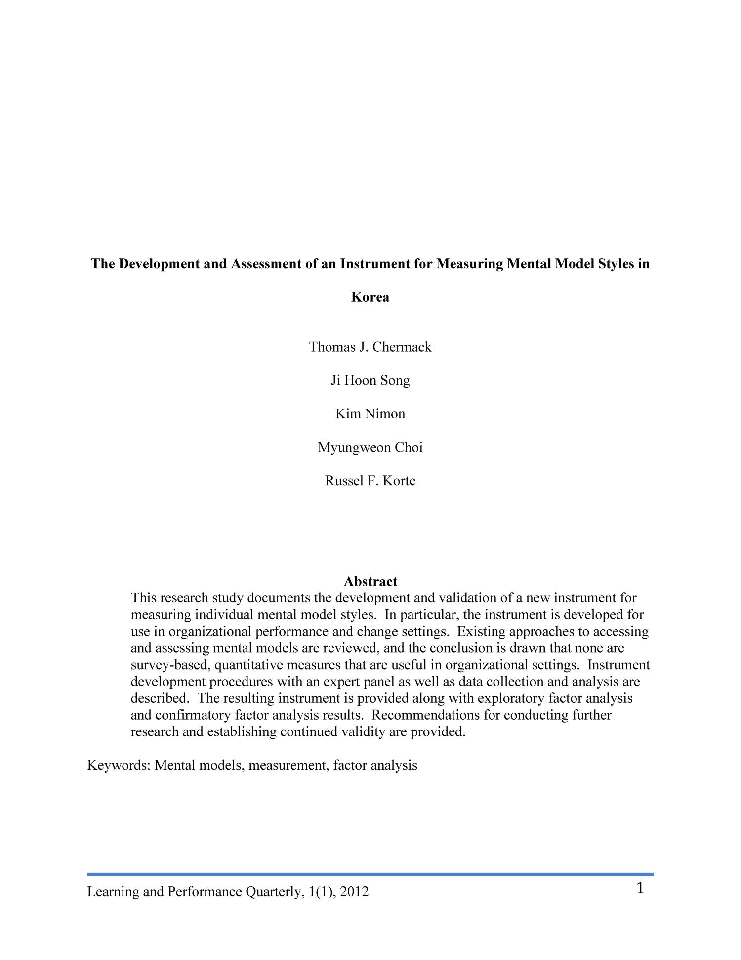The Development and Assessment of an Instrument for Measuring Mental Model Styles in Korea                                                                                                      1