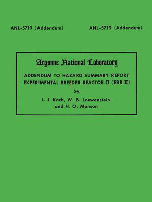 Primary view of object titled 'Addendum to Hazard Summary Report Experimental Breeder Reactor-II (EBR-II)'.