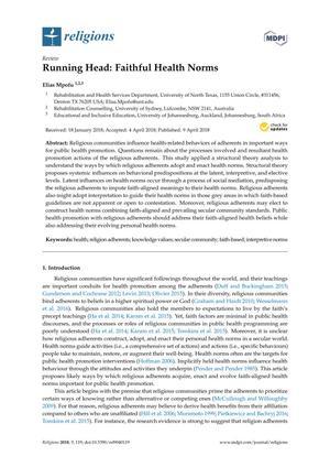 Running Head: Faithful Health Norms