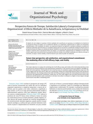 Future time perspective, job satisfaction, and organizational commitment: The mediating effect of self-efficacy, hope, and vitality