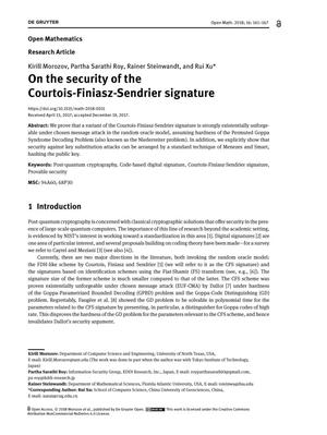 On the security of the Courtois-Finiasz-Sendrier signature