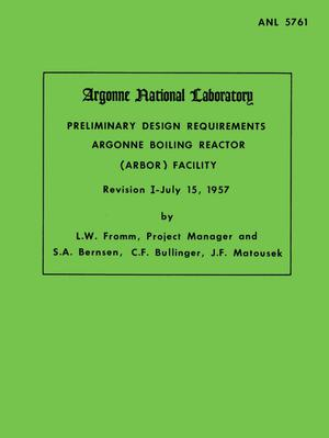Primary view of object titled 'Preliminary Design Requirements Argonne Boiling Reactor (ARBOR) Facility'.