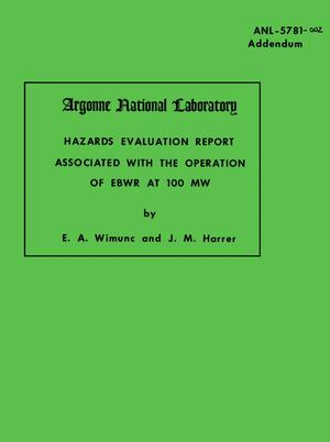 Primary view of object titled 'Hazards Evaluation Report Associated With the Operation of EBWR at 100 MW'.