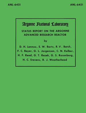 Primary view of object titled 'Status Report on the Argonne Advanced Research Reactor'.