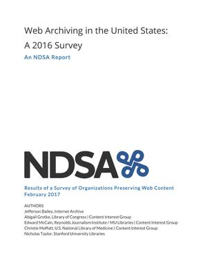 Web Archiving in the United  States: A 2016 Survey