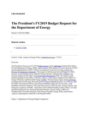 Primary view of object titled 'The President's Fiscal Year 2019 Budget Request for the Department of Energy'.