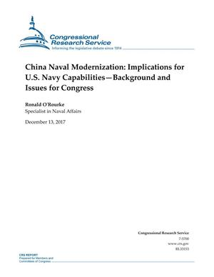 Primary view of object titled 'China-U.S. Naval Modernization: Implications for U.S. Navy Capabilities-Background and Issues for Congress'.