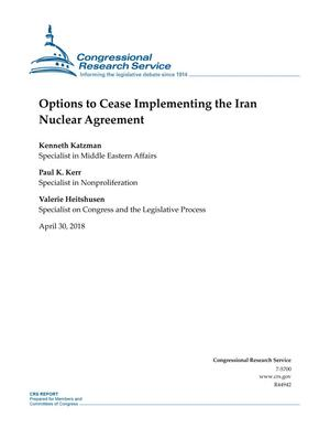 Primary view of object titled 'Options to Cease Implementing the Iran Nuclear Agreement'.