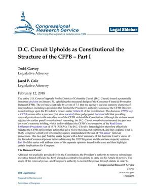 Primary view of object titled 'D.C. Circuit Court Upholds as Constitutional the Structure of the CFPB: Part 1'.