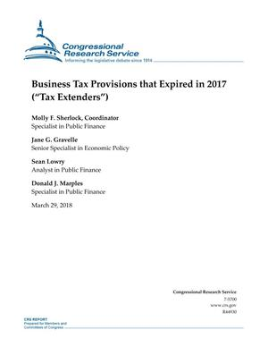 "Primary view of object titled 'Business Tax Provisions that Expired in 2017 (Tax Extenders"")'."