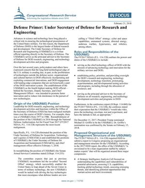 Primary view of object titled 'Defense Primer: Under Secretary of Defense for Research and Engineering'.