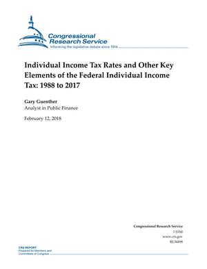 Primary view of object titled 'Individual Income Tax Rates and Other Key Elements of the Federal Individual Income Tax: 1988 to 2017'.