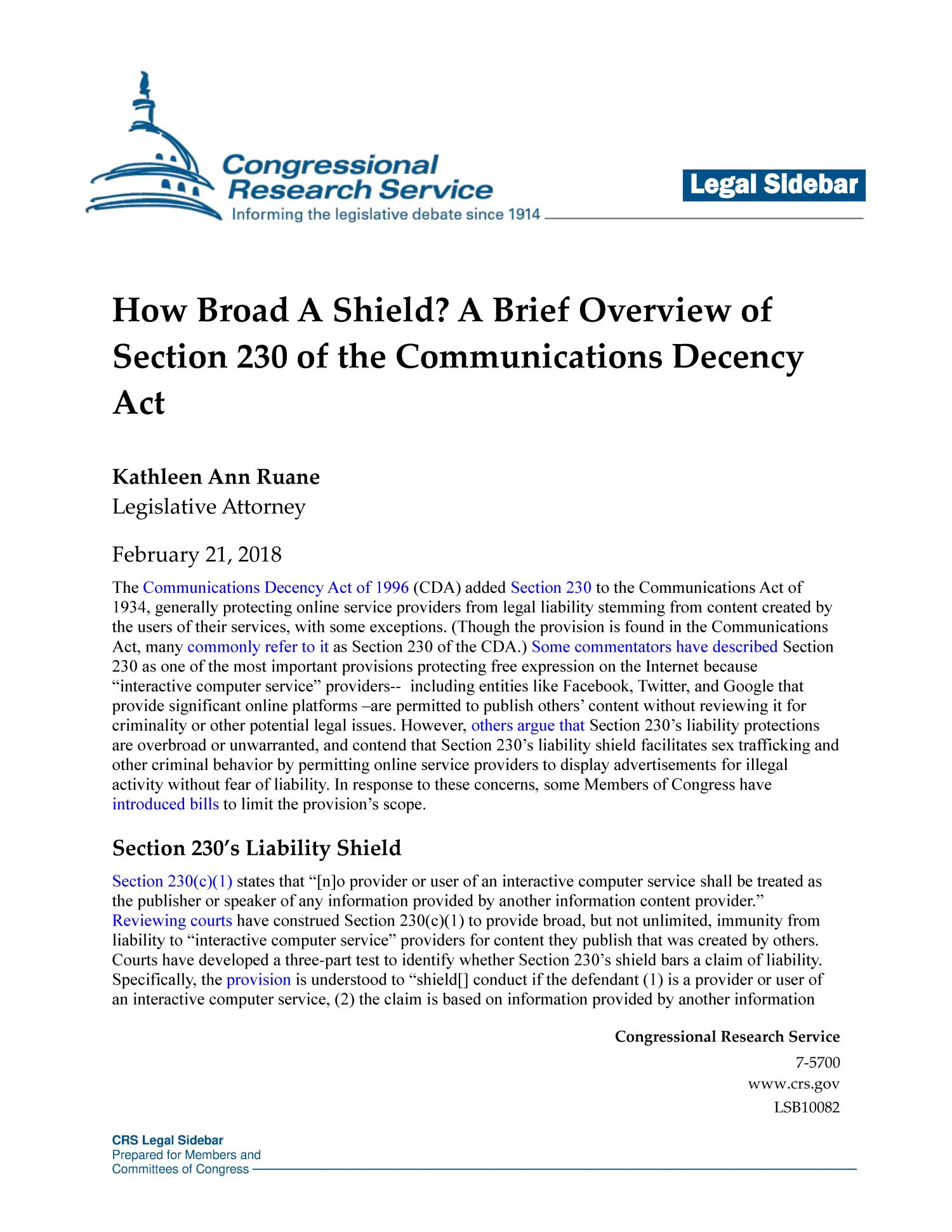 How Broad A Shield A Brief Overview Of Section 230 Of The Communications Decency Act Unt Digital Library