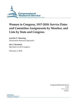 Women in Congress, 1917-2018: Service Dates and Committee Assignments by Member, and Lists by State and Congress