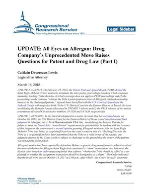 """Update of """"All Eyes on Allergan: Drug Company's Unprecedented Move Raises Questions for Patent and Drug Law (Part 1)"""""""