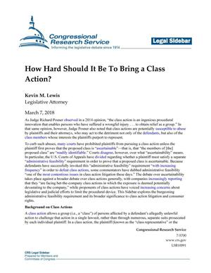 Primary view of object titled 'How Hard Should it Be to Bring a Class Action?'.
