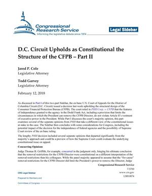 Primary view of object titled 'D.C. Circuit Court Upholds as Constitutional the Structure of the CFPB: Part 2'.
