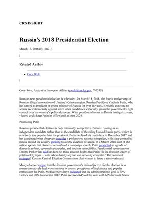 Primary view of object titled 'Russia's 2018 Presidential Election'.