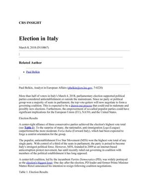 Primary view of object titled 'Election in Italy'.