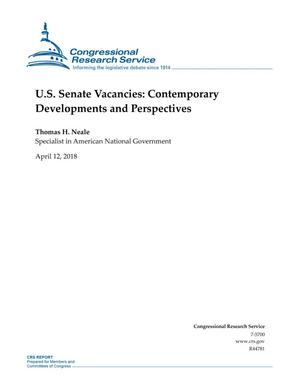 Primary view of object titled 'U.S. Senate Vacancies: Contemporary Developments and Perspectives'.