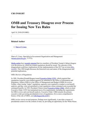 Primary view of object titled 'OMB and Treasury Disagree over Process for Issuing New Tax Rules'.