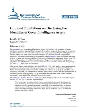 Primary view of object titled 'Criminal Prohibitions on Disclosing the Identities of Covert Intelligence Assets'.