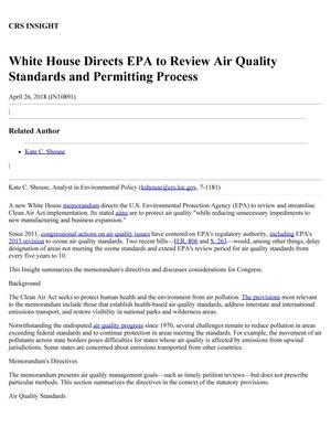 Primary view of object titled 'White House Directs EPA to Review Air Quality Standards and Permitting Process'.