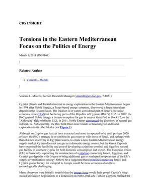 Primary view of object titled 'Tensions in the Eastern Mediterranean Focus on the Politics of Energy'.