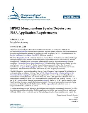 Primary view of object titled 'HPSCI Memorandum Sparks Debate Over FISA Application Requirements'.