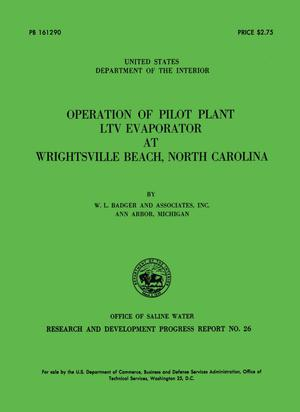 Primary view of object titled 'Operation of Pilot Plant LTV Evaporator at Wrightsville Beach, North Carolina'.