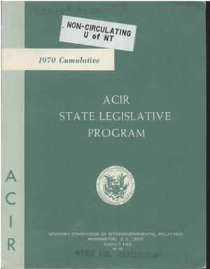 Primary view of object titled '1970 Cumulative : ACIR state legislative program'.