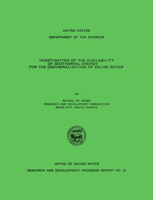 Primary view of object titled 'Investigation of the Availability of Geothermal Energy for the Demineralization of Saline Water'.