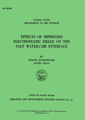 Primary view of object titled 'Effects of Impressed Electrostatic Fields on the Salt Water/Air Interface'.