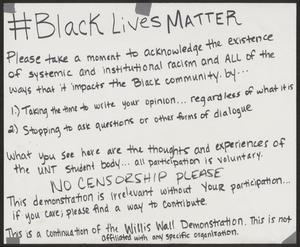 "Primary view of object titled '[White ""#Black Lives Matter"" poster]'."