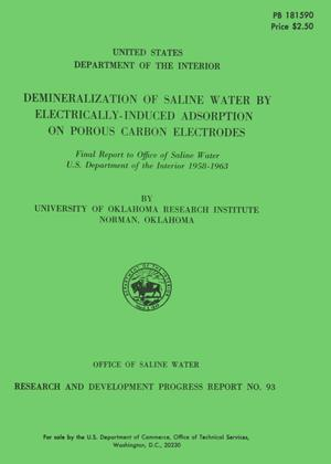 Primary view of object titled 'Demineralization of Saline Water by Electrically-Induced Adsorption on Porous Carbon Electrodes'.