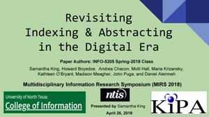 Revisiting Indexing & Abstracting in the Digital Era
