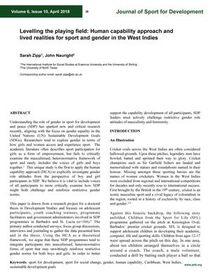 Levelling the playing field: Human capability approach and lived realities for sport and gender in the West Indies