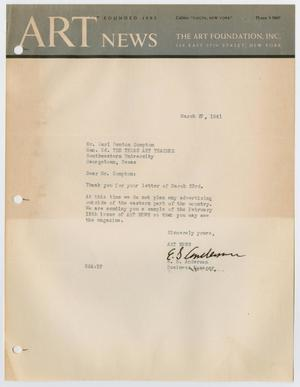 Primary view of [Letter from E. S. Anderson to Carl Compton, March 27, 1941]
