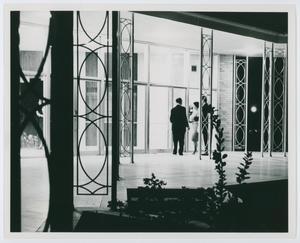 [NTSU music building courtyard at night, 1960s]