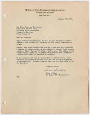 Primary view of [Letter from Helen Dillon to Carl Compton, October 21, 1943]